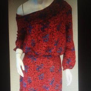 Saloni Off-the-Shoulder Lexie Floral Red Dres